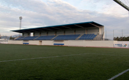 white and blue stands